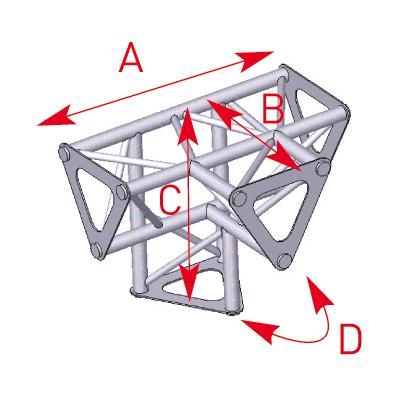 Angle vertical 4 départs 90° pied lg 0m25 x 0m25 x 0m35 -