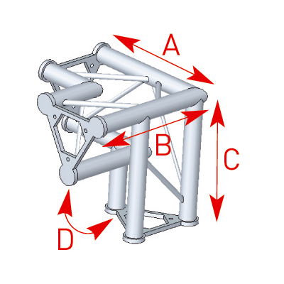 Angle vertical 3 départs pied gauche 90° lg 0m40 x 0m40 x 0m40