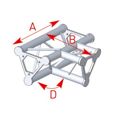 Angle 3 départs à plat 90° lg 0m40 x 0m55 - 57ASD33
