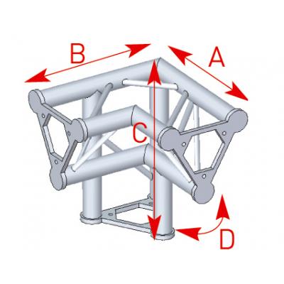 Angle vertical 3 départs pied droit 90° lg 0m40 x 0m40 x 0m40 -