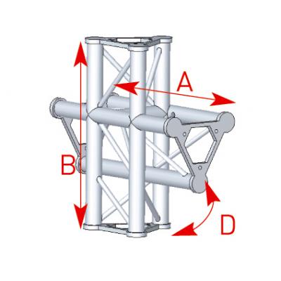 Angle 4 départs 90° pied lg 0m55 x 0m575 - 57ASD44