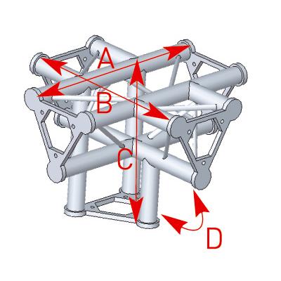 Angle 5 départs 90°pied lg 0m40 x 0m55 x 0m55 - 57ASD51