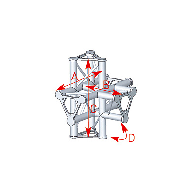 Angle 5 départs 90° pied lg 0m55 x 0m40 x 0m575 - 57ASD52