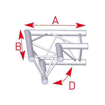 Angle 2 départs horizontal 90° lg 0m50 x 0m50- 57ASX22