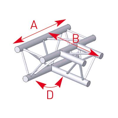 Angle 3 départs à plat 90° lg 0m50 x 0m71- 57ASX33