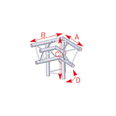 Angle 3 départs 90° pied droit lg 0m50 x 0m50 x 0m50 - 57ASX31