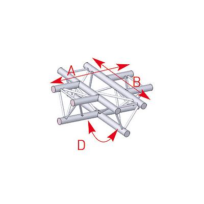 Angle à plat 4 départs 90° lg 0m71 x 0m71 - 57ASX41