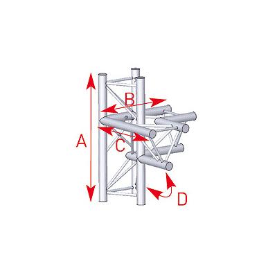 Angle 4 départs 90° pied lg 0m745 x 0m50 x 0m50 - 57ASX45