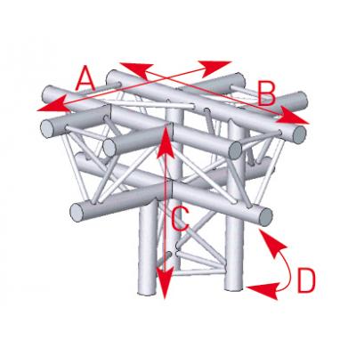 Angle 5 départs 90°pied lg 0m50 x 0m71 x 0m71 - 57ASX51