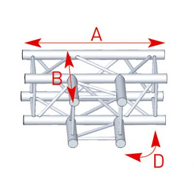 Angle 3 départs 90° à plat lg 0m71 x 0m50 - 57ASZ33