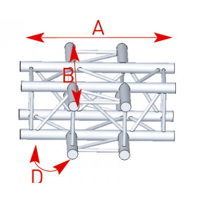 Angle 4 départs 90° à plat lg 0m71 x 0m71- 57ASZ41