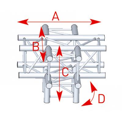 Angle 5 départs 90° pied lg 0m50 x 0m71 x0m71- 57ASZ51